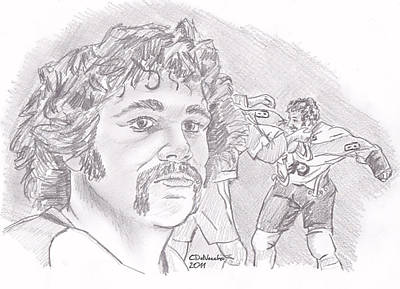 Poster featuring the drawing Dave Schultz- The Hammer by Chris  DelVecchio