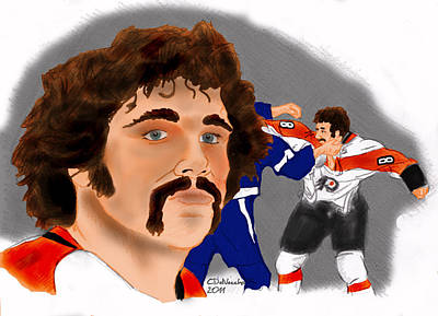 Poster featuring the drawing Dave Schultz- The Hammer Color by Chris  DelVecchio