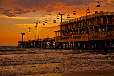Daytona Beach Pier At Sunset Poster by Stephen  Johnson