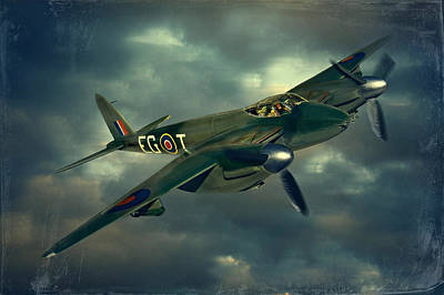 Poster featuring the photograph De Haviland Mosquito by Steven Agius