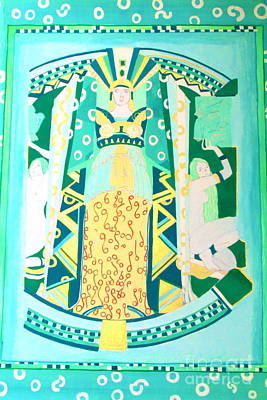 Poster featuring the painting Deco Green by Beth Saffer