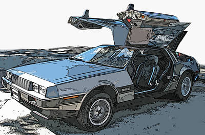 Delorean Dmc-12 Poster by Samuel Sheats