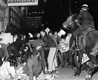 Demonstrators Pushed By New York City Poster by Everett