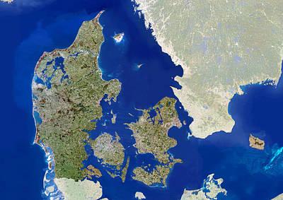 Denmark, Satellite Image Poster