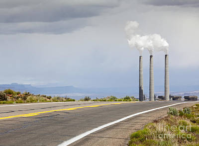 Desert Road Leading Towards Smokestacks Poster by Paul Edmondson