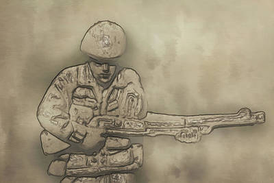 Desert Storm Army Soldier Poster by Randy Steele