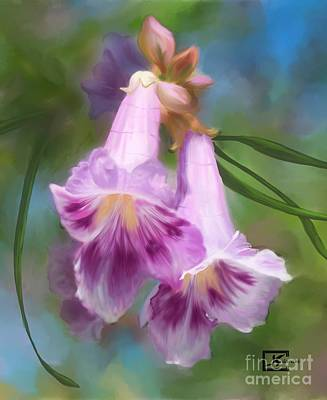 Desert Willow Floral Wall Art Poster by Judy Filarecki