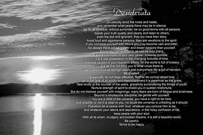 Poster featuring the photograph Desiderata by George Bostian