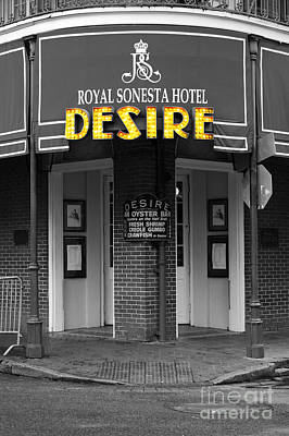 Desire Corner Bourbon Street French Quarter New Orleans Color Splash Black And White Digital Art  Poster by Shawn O'Brien