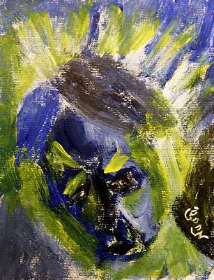 Despondent Expressionistic Portrait Figure In Blue And Yellow Religious Symbols Of Glory Bursting Poster by M Zimmerman MendyZ