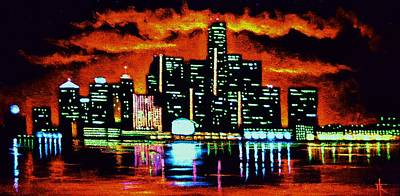 Detroit In Black Light Sold Poster