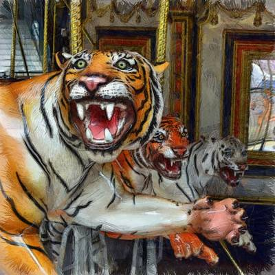 Detroit Tigers Carousel Poster by Michelle Calkins