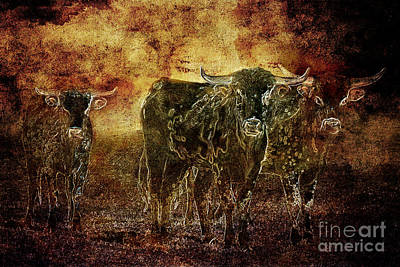 Devil's Herd - Texas Longhorn Cattle Poster by Cindy Singleton