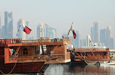 Dhows And Doha Skyline Poster by Paul Cowan
