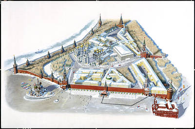 Diagram Of The Kremlin, Moscow Poster by Terry W. Rutledge