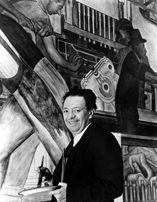 Diego Rivera Paints Detroit Industry Poster by Everett