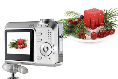 Poster featuring the photograph Digital Camera And A Christmas Bouquet Collage by Aleksandr Volkov