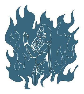 Digital Illustration Of Hindu Goddess Sati Praying In Sacrificial Fire Poster