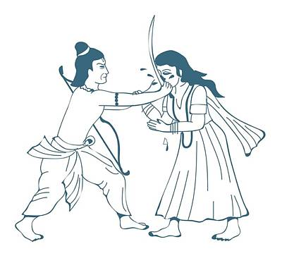 Digital Illustration Of Lakshmana Cutting Off Nose Of Surpanakha Using Sword Poster by Dorling Kindersley