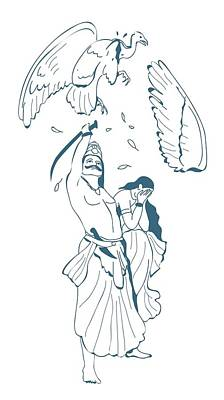 Digital Illustration Of Ravana Cutting Off Jatayu's Wing With Sword As The Kidnapped Sita Covers Her Poster by Dorling Kindersley