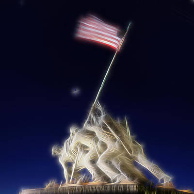 Poster featuring the photograph Digital Lightening - Iwo Jima Memorial by Metro DC Photography