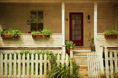 Digital Painting Of Front Porch Rural Farmhouse Poster by Sandra Cunningham