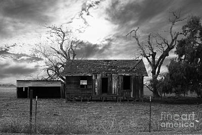 Dilapidated Old Farm House . 7d10341 . Black And White Poster
