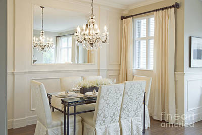 Dining Area And Chandelier Poster