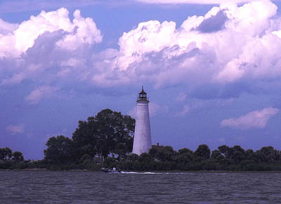 Distant Storm-st. Marks Lighthouse Poster by Marilyn Holkham