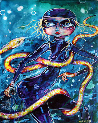 Diving With Serpent Poster by Leanne Wilkes