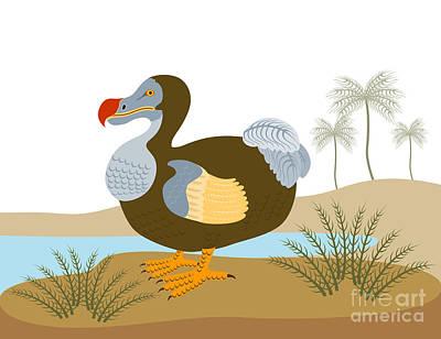 Dodo Bird Raphus Cucullatus Retro Poster by Aloysius Patrimonio