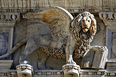Doge S Palace Lion Of St Mark Venice Poster by Cedric Darrigrand