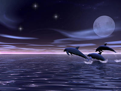 Poster featuring the digital art Dolphin Moon. by Walter Colvin