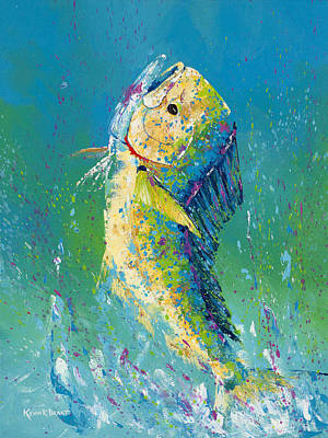 Dolphin Pallet Knife Poster by Kevin Brant