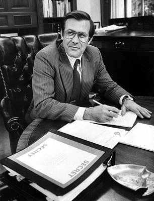 Donald Rumsfeld, Working In His Office Poster by Everett