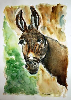 Poster featuring the painting Donkey by Therese Alcorn