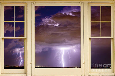 Double Lightning Strike Picture Window Poster