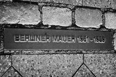 double row of bricks across berlin to mark the position of the berlin wall berliner mauer Germany Poster by Joe Fox