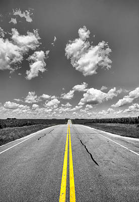 Down A Black And White Road Poster