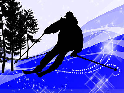 Downhill On The Ski Slope  Poster by Elaine Plesser