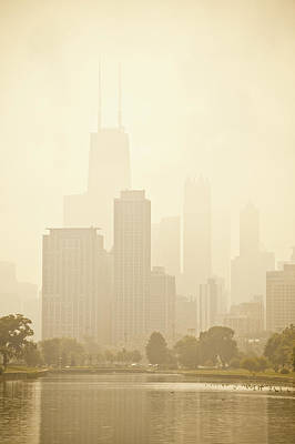 Downtown Chicago In Mist Poster by Andria Patino