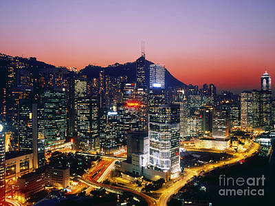 Downtown Hong Kong At Dusk Poster