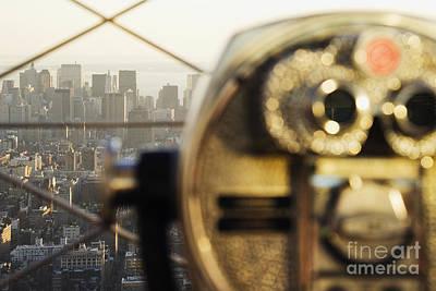 Downtown Manhattan Behind Coin Operated Binoculars Poster
