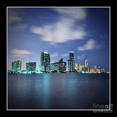 Poster featuring the photograph Downtown Miami At Night by Carsten Reisinger