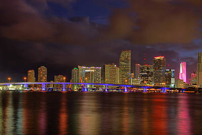 Downtown Miami At Night Poster by Claudia Domenig