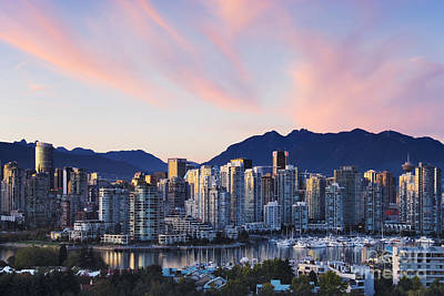Downtown Vancouver Skyline At Dusk Poster