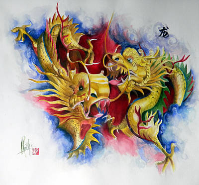 Poster featuring the painting Dragon  by Alan Kirkland-Roath