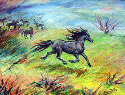 Poster featuring the painting Dream Horse In Flight by Nancy Tilles