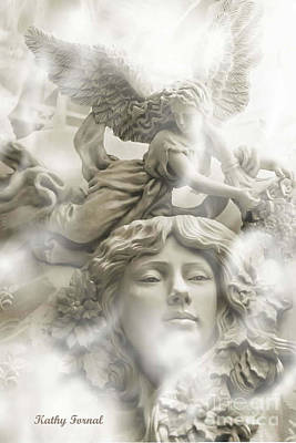Dreamy Ethereal White Angels And Angel Wings Poster