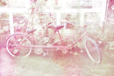 Dreamy Paris Pink Pastel Bicycle For Two Poster by Kathy Fornal